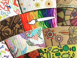 A collection of colorful coffee sleeves