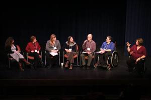 A group of panelists gather on stage at the symposium. Image courtesy of VT Arts Council.